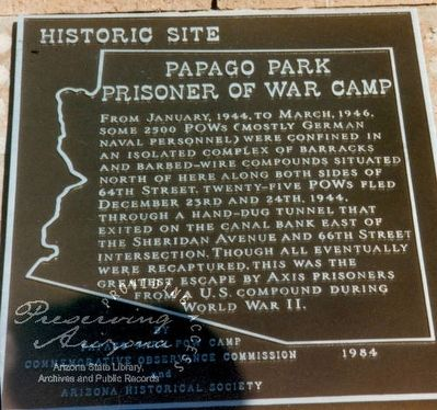 Papago Park Prisoner Of War Camp Marker image. Click for full size.
