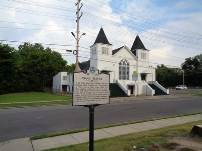 Isaac Hayes Marker with Gospel Temple Baptist Church in the background. image. Click for full size.