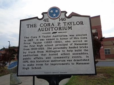 Manassas High School/The Cora P. Taylor Auditorium Marker image. Click for full size.