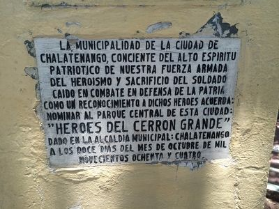 Monument additional marker to the Heroes of Cerrón Grande image. Click for full size.