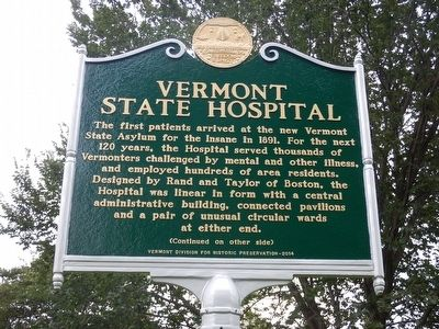 Vermont State Hospital Marker image. Click for full size.