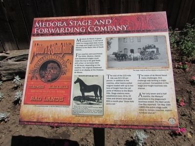 Medora Stage and Forwarding Company Marker image. Click for full size.