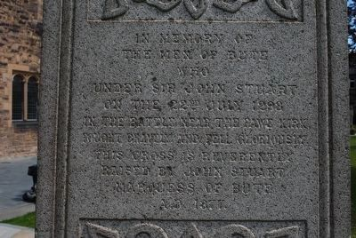 The Bute Memorial - Inscription on the Cross image. Click for full size.