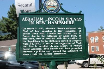 Abraham Lincoln Speaks in New Hampshire Marker image. Click for full size.