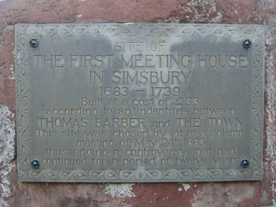First Meeting House In Simsbury Marker image. Click for full size.