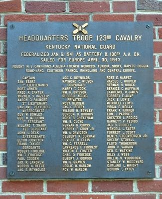 Headquarters Troop, 123rd Cavalry Marker image. Click for full size.