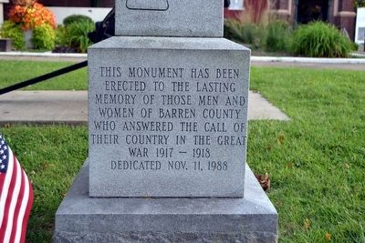 Inscription on Barren County World War I Monument image. Click for full size.