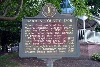 Barren County, 1798 Marker image. Click for full size.