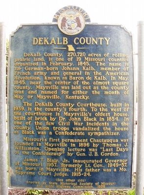 DeKalb County Marker (Side A) image. Click for full size.