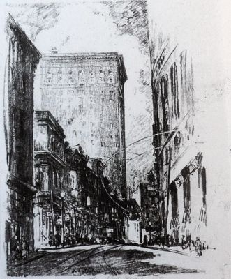 Lexington and Charles Streets, West, 1924<br>Artist: Pullinger, Herbert, 1878-1961 image. Click for full size.