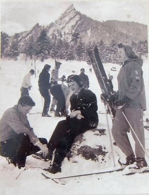 Skiing in Chautaqua Meadow (Marker inset photo.) image. Click for full size.