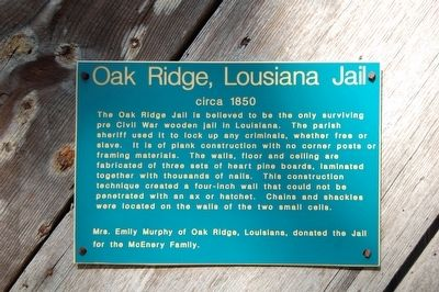 Oak Ridge, Louisiana Jail Marker image. Click for full size.