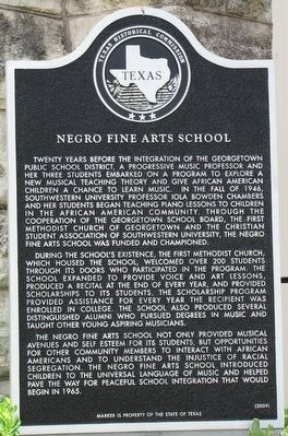 Negro Fine Arts School Texas Historical Marker image. Click for full size.