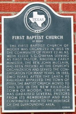 First Baptist Church of Moody Texas Historical Marker image. Click for full size.