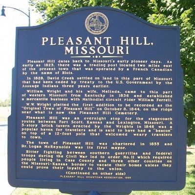Pleasant Hill, Missouri Marker (Side A) image. Click for full size.