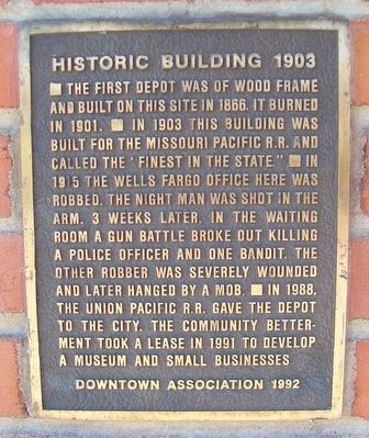 Missouri Pacific Railroad Depot Marker image. Click for full size.