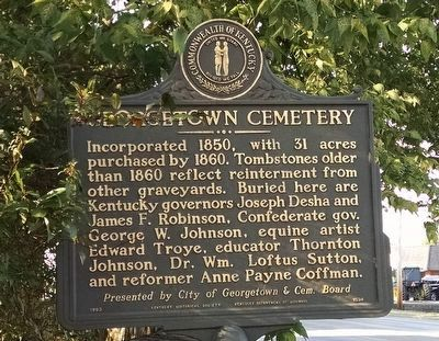 Georgetown Cemetery Marker image. Click for full size.