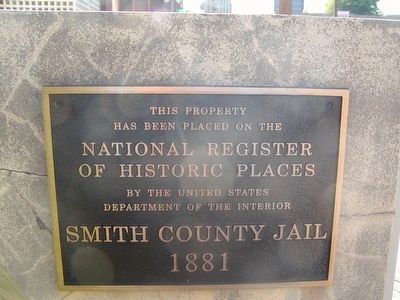 1881 Smith County Jail National Register Plaque image. Click for full size.