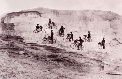 <i>Army Bicyclists on Mammoth Hot Springs Terraces</i> image. Click for full size.