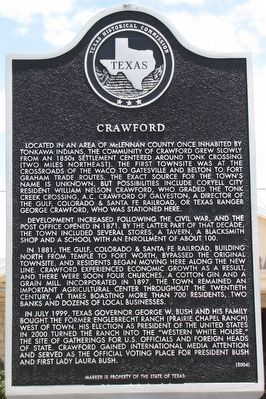 Crawford Texas Historical Marker image. Click for full size.