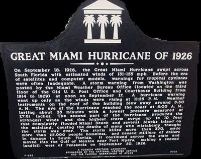 Great Miami Hurricane of 1926 Marker image. Click for full size.