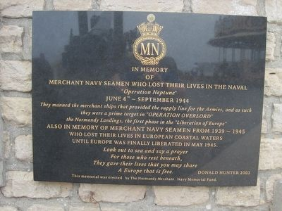 Merchant Navy Seamen Memorial Marker image. Click for full size.
