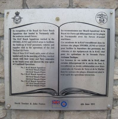 Royal Air Force Beach Squadrons Memorial Marker image. Click for full size.