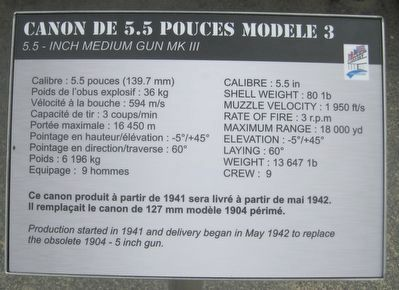 Placard for the 5.5 inch artillery piece near the marker image. Click for full size.