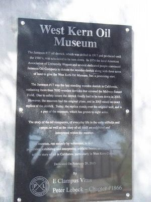 West Kern Oil Museum Marker image. Click for full size.