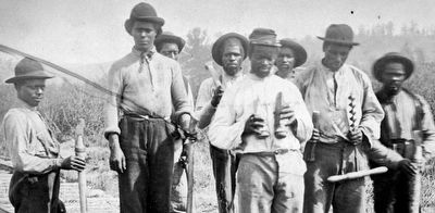 Detail of African American Railroad Workers image. Click for full size.