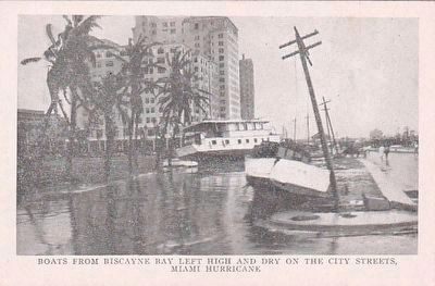 <i>Boats From Biscayne Bay Left High and Dry on the City Streets, Miami Hurricane</i> image. Click for full size.