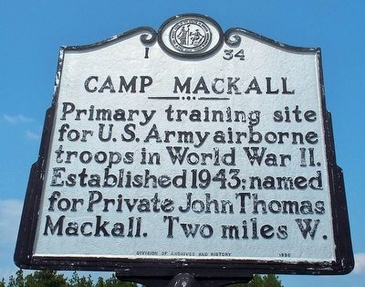 Camp Mackall Marker image. Click for full size.