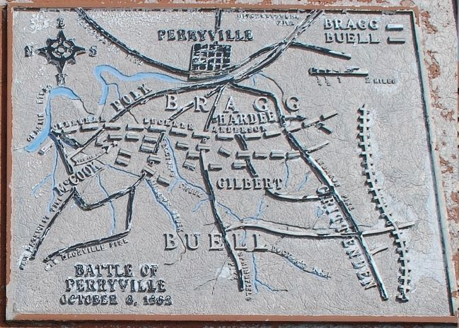 The Battle of Perryville Marker Map Closeup image. Click for full size.
