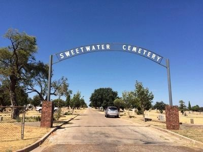 Sweetwater Cemetery entrance. Marker is on left pillar. image. Click for full size.