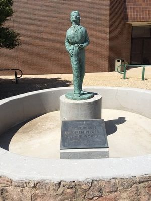 Statue of Jacqueline Cochran near marker. image. Click for full size.