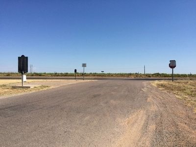 View of OS Ranch marker and Llano Estacado marker from parking area. image. Click for full size.