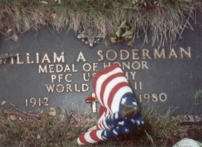 William A. Soderman Medal of Honor Grave Marker-Oak Grove Cemetery image. Click for full size.