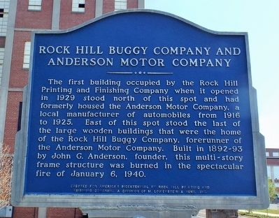 Rock Hill Buggy Company and Anderson Motor Company Marker image. Click for full size.