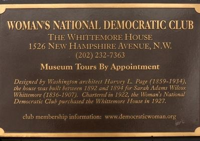 Woman's National Democratic Club Marker image. Click for full size.