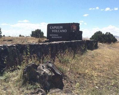 Capulin Volcano National Monument entrance sign. image. Click for full size.