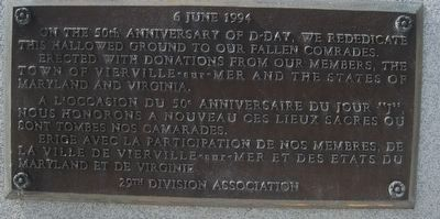 29th Infantry Division Memorial rededication plaque. image. Click for full size.