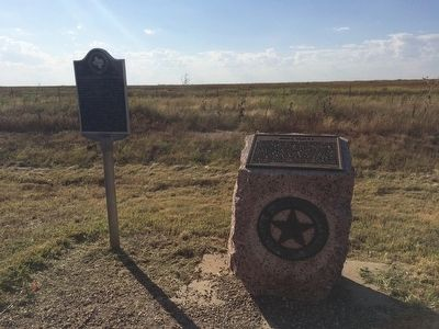 Trail Marker and Texas Centennial marker on Moore County. image. Click for full size.