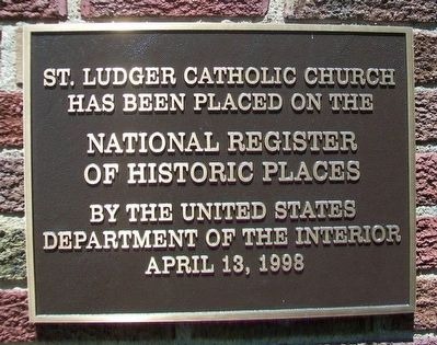 St. Ludger Catholic Church NRHP Marker image. Click for full size.