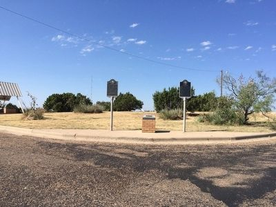 View of markers in eastbound rest area. image. Click for full size.