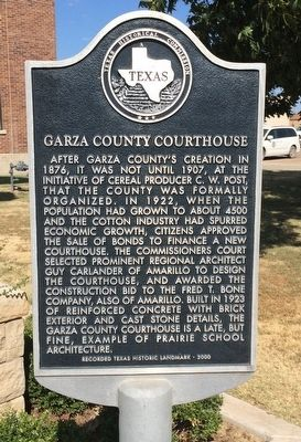 Garza County Courthouse Marker image. Click for full size.