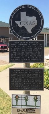 Full marker showing both Mason Building & Old Post Sanitarium plaques. image. Click for full size.