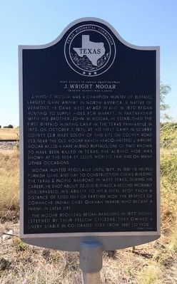 Home County of Famous Frontiersmen J. Wright Mooar Marker image. Click for full size.