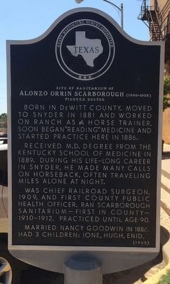 Site of Sanitarium of Alonzo Orrin Scarborough Marker image. Click for full size.