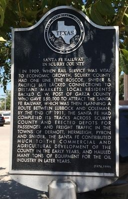 Santa Fe Railway in Scurry County Marker image. Click for full size.