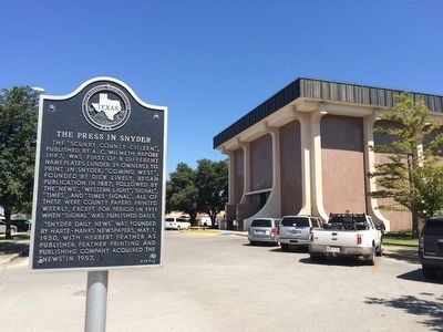 Marker near Scurry County Courthouse. image. Click for full size.